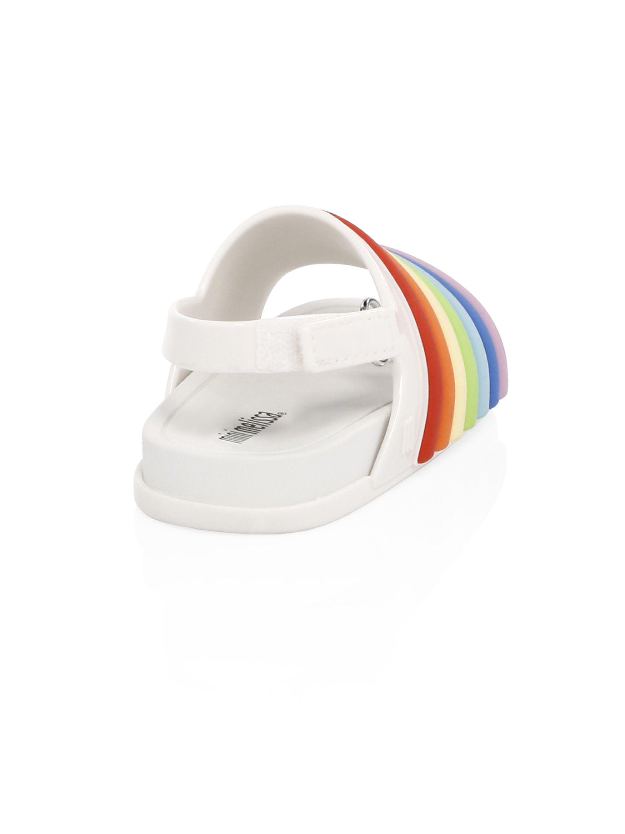 228d5ebcb3b2 Mini Melissa Little Girl s   Rainbow Beach Slides - White Rain 10 (Toddler)