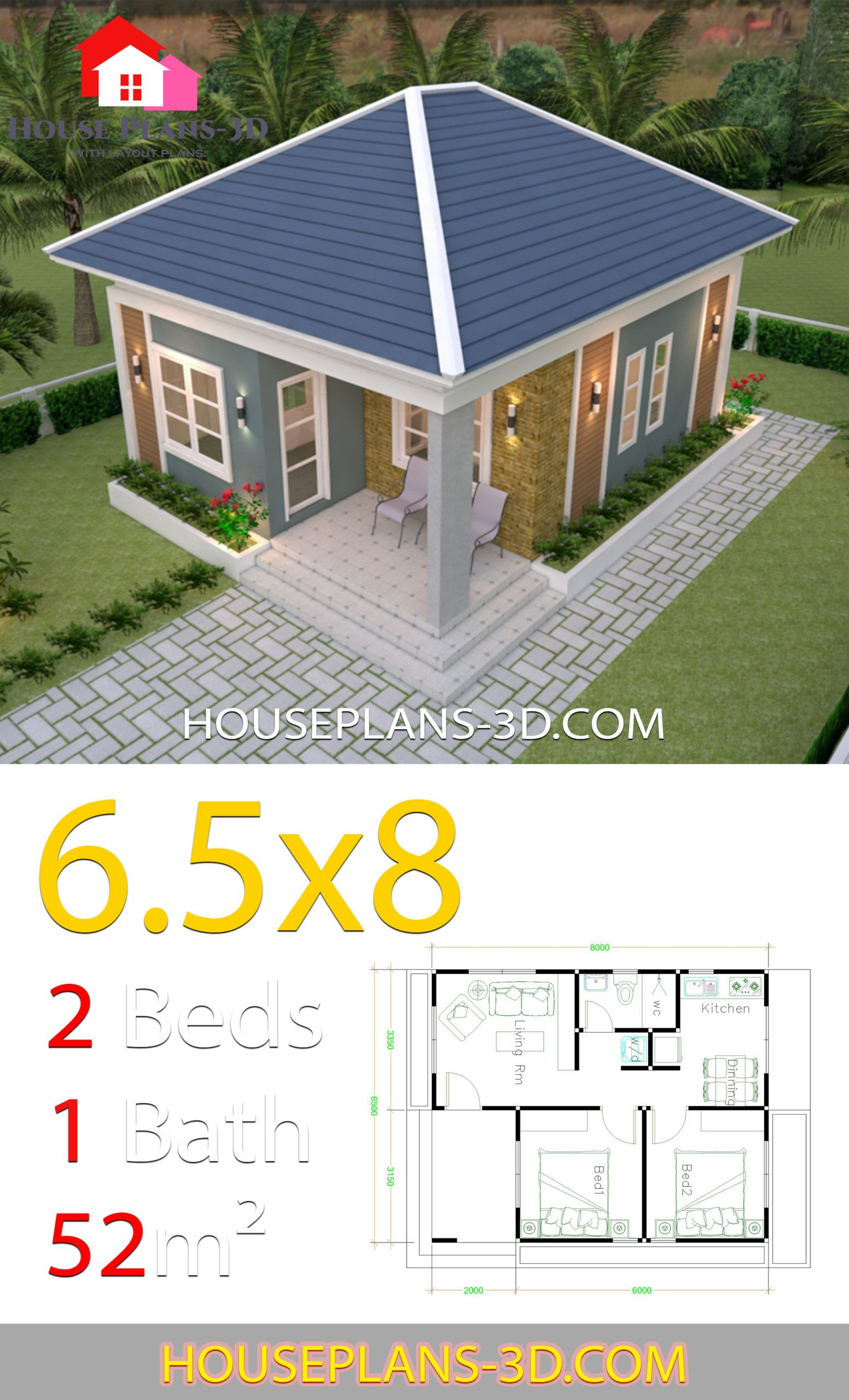 House Design Plans 6 5x8 With 2 Bedrooms Hip Roof House Plans 3d Small House Design Philippines Small House Design Plans House Construction Plan