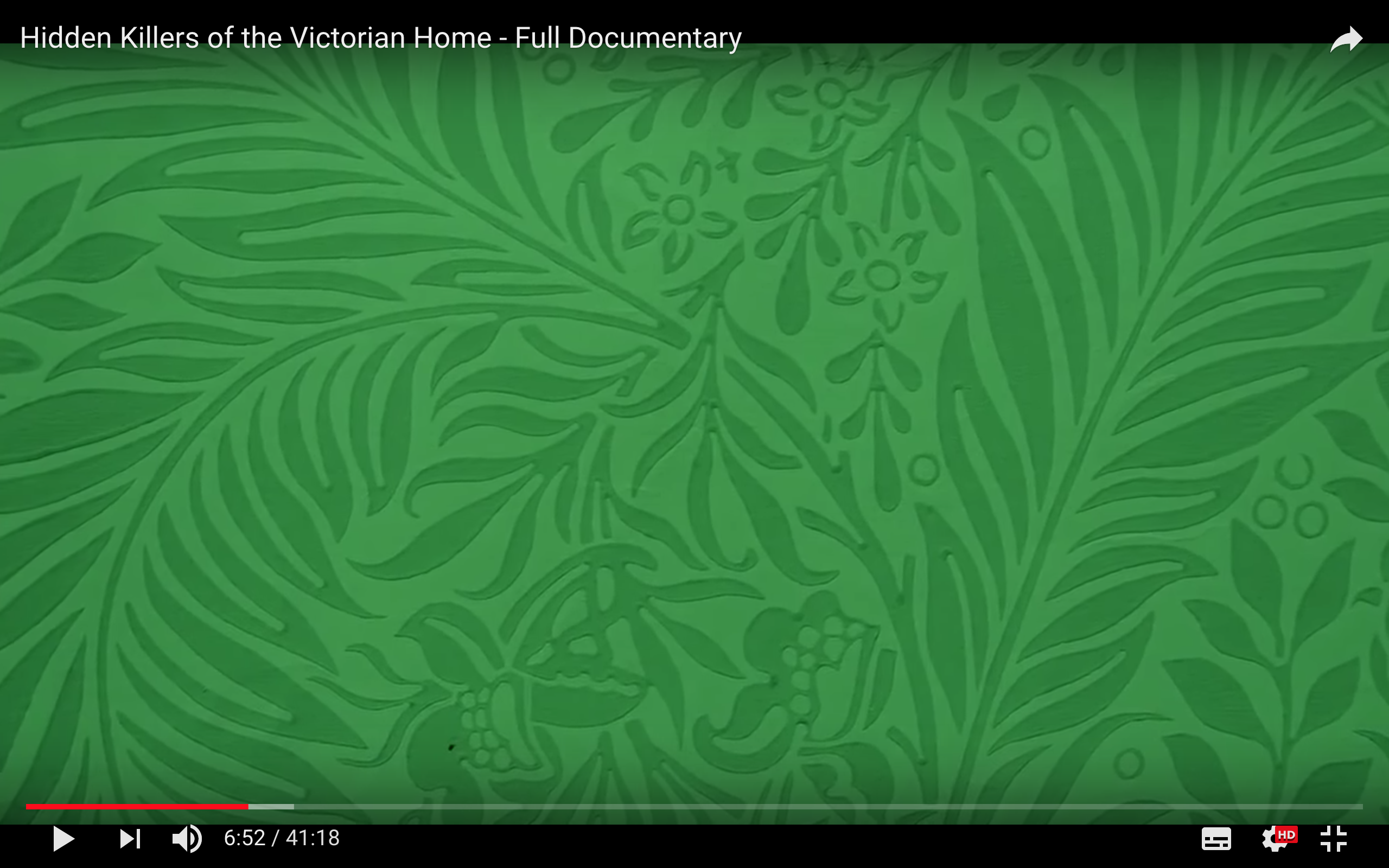 Scheele's Green Victorian Era wallpaper (contained toxic