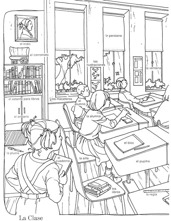 Spanish classroom words I Coloring Pages Spanish