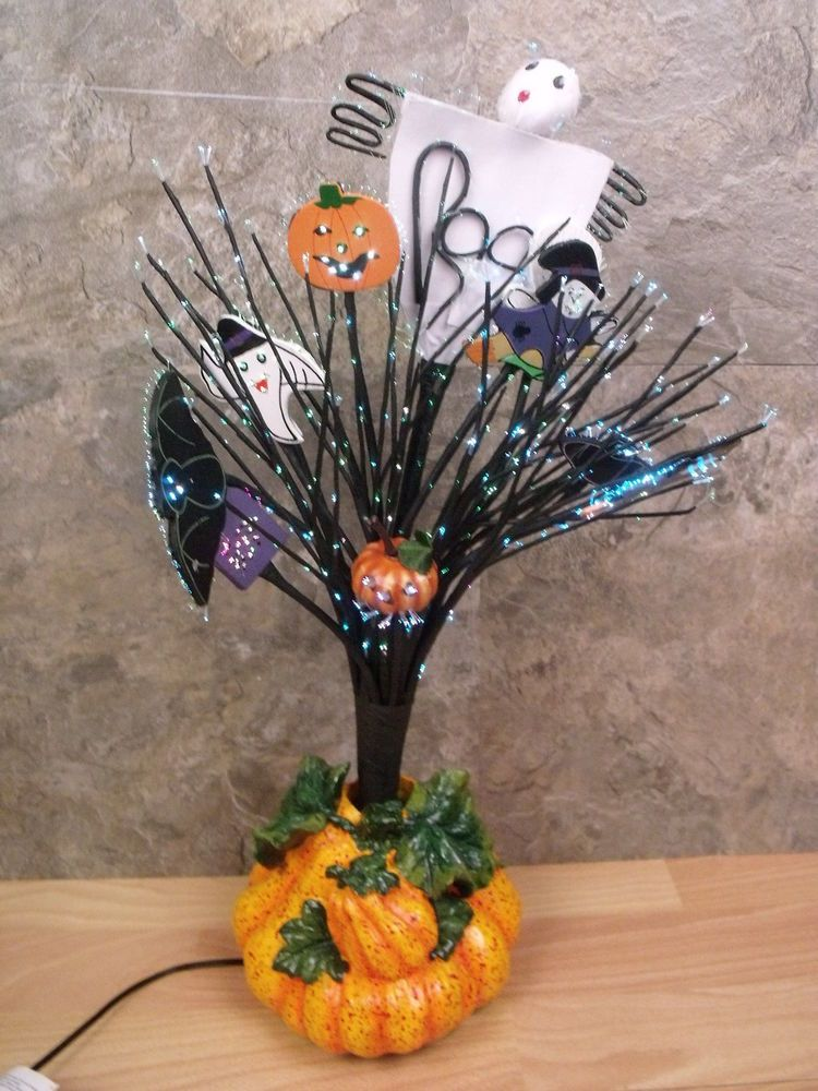 Fiber Optic Halloween Tree Multi Colored Ghosts Pumpkins Witches