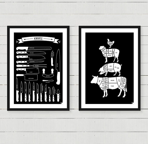 Combine 2 from 9 of our kitchen posters: - Meat Cuts - Kitchen ...
