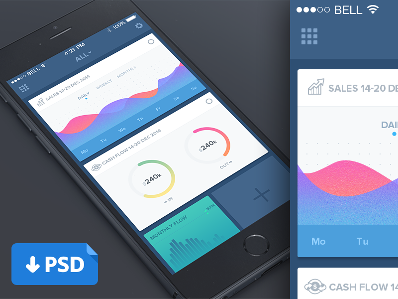 p download this awesome clean dashboard mobile ui template psd