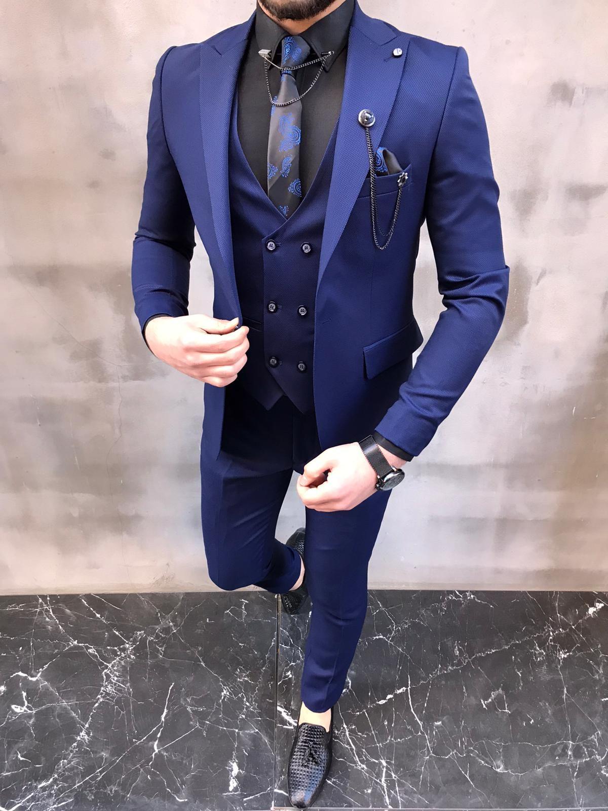 Lewes Blue Slim Fit Suit Bespoke Daily Blue Slim Fit Suit Blue Suit Men Dress Suits For Men [ 1600 x 1200 Pixel ]