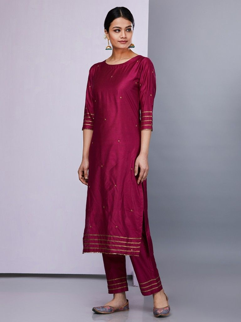 27a5b1189f Maroon Silk Kurta with Pants - Set of 2 in 2019 | jas | Kurta with ...