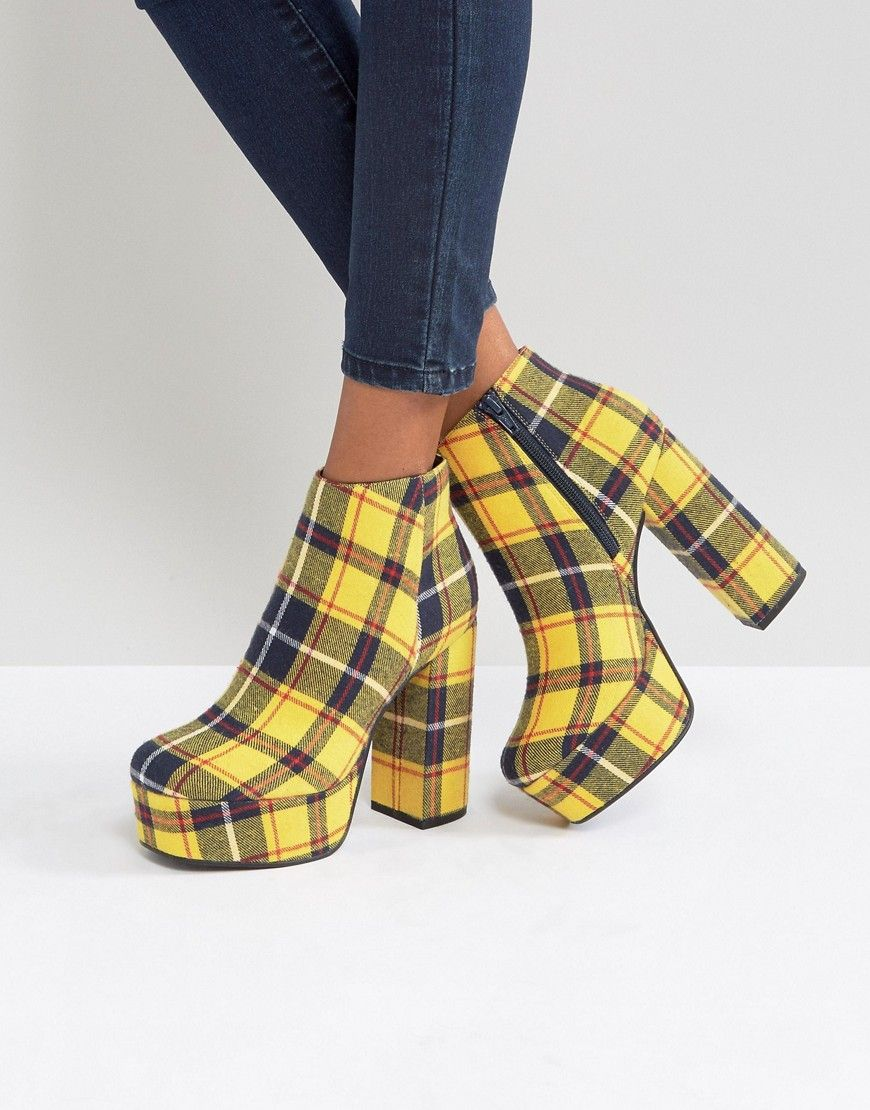 6677bb1758 ASOS EXTROVERT Platform Ankle Boots - Yellow | Shoes in 2019 ...