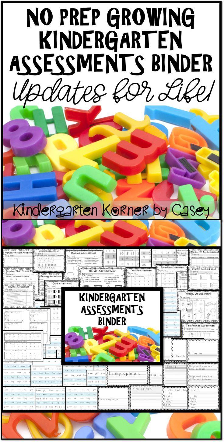 Kindergarten GROWING Assessment Binder BUNDLE - Math ELA Writing ...