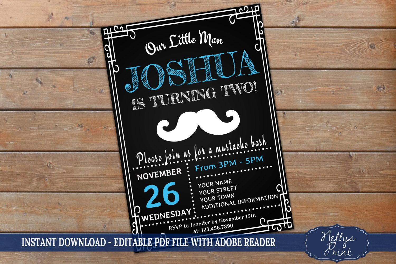 Mustache Birthday Invitation, Little Man Mustache Birthday ...