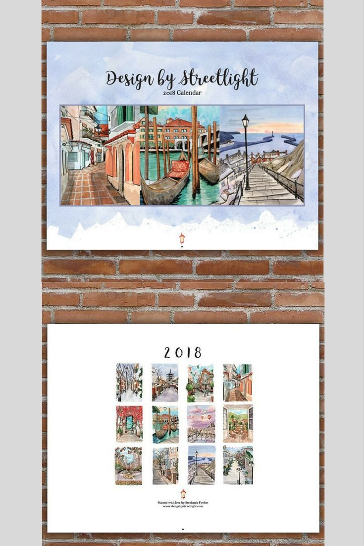 The 2018 Wall Calendar from Design by Streetlight - an Urban Sketching Watercolor Calendar guaranteed to brighten up any space to ring in 2018! #ad #calendar #urbansketch #handmade #watercolor
