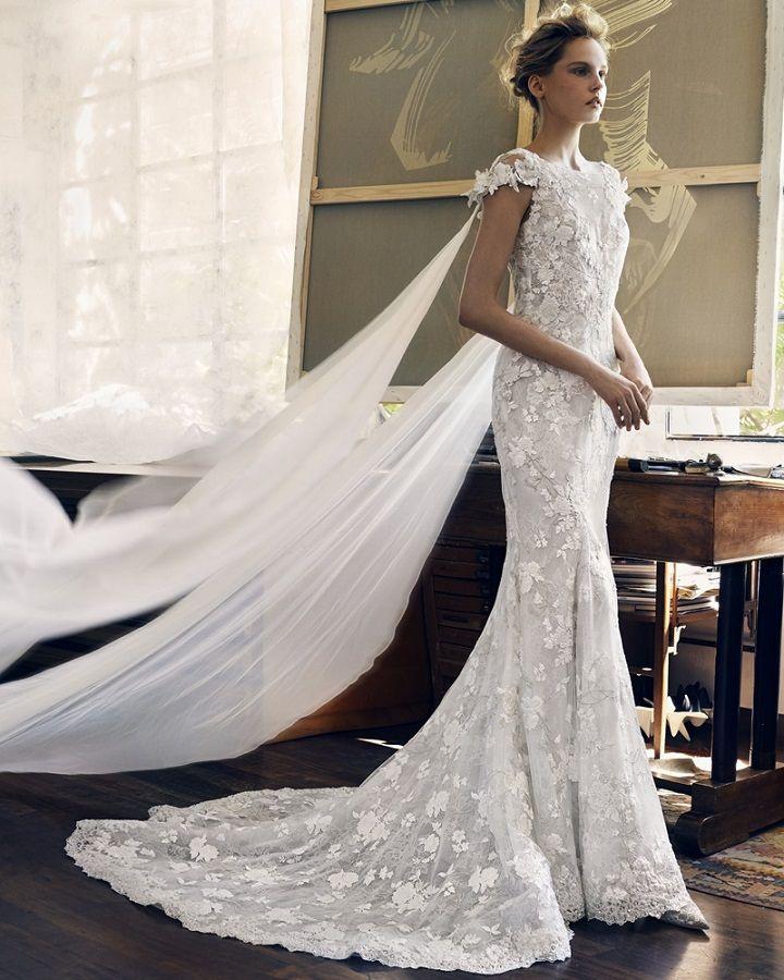 Lusan Mandongus Feminine mermaid dress delicate floral appliques #weddingdress #weddingdresses