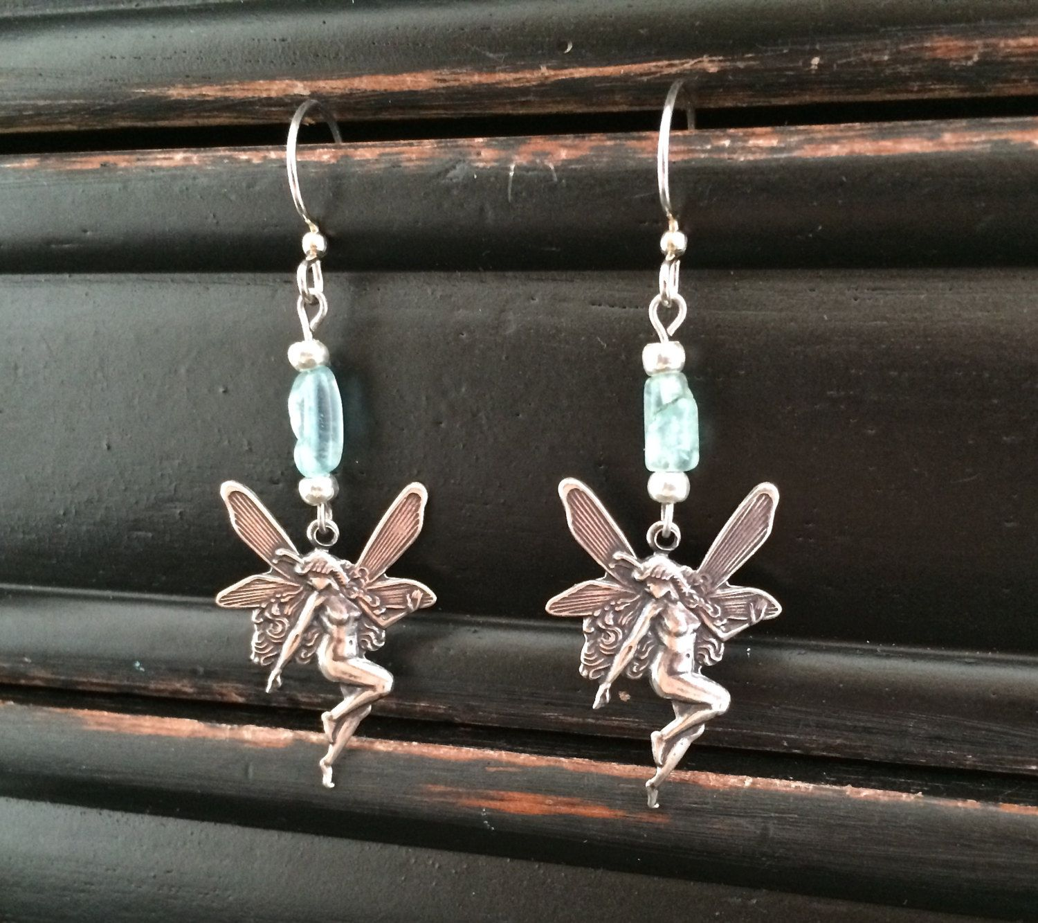 fantasy dangle jewelry nouveau pin fairy earrings art silver