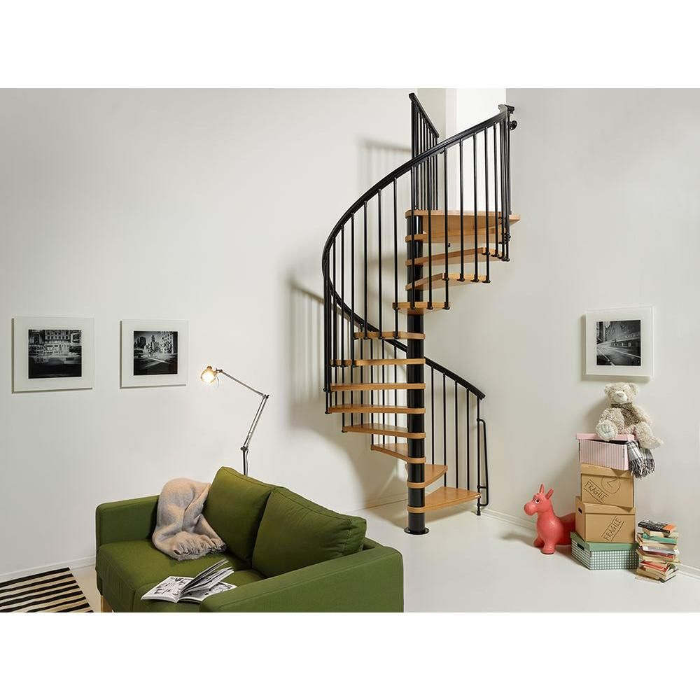 Best Arke Nice1 63 In Black Spiral Staircase Kit K50107 400 x 300