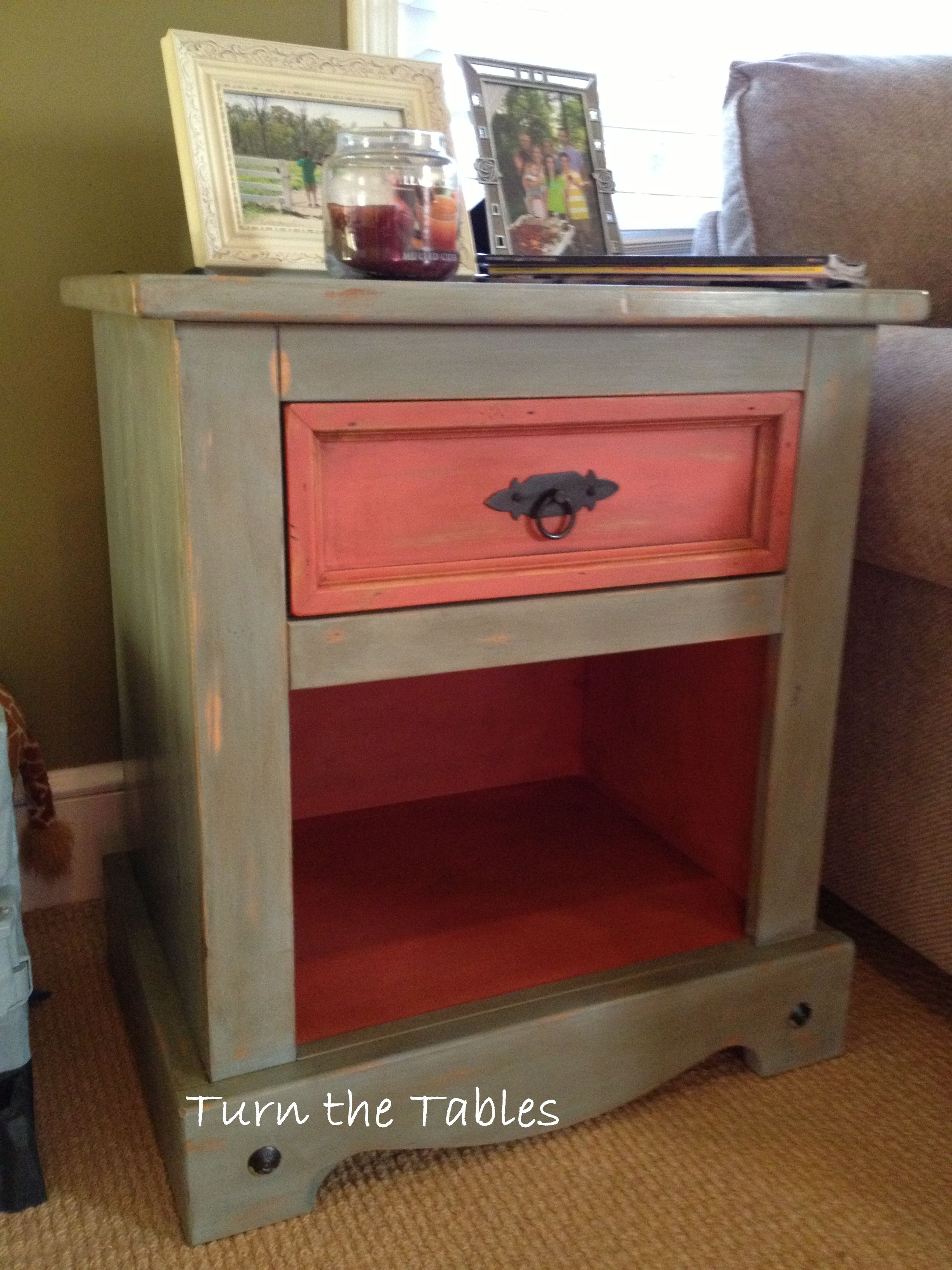 Plain, wooden side table re-purposed and given a fresh look for the ...