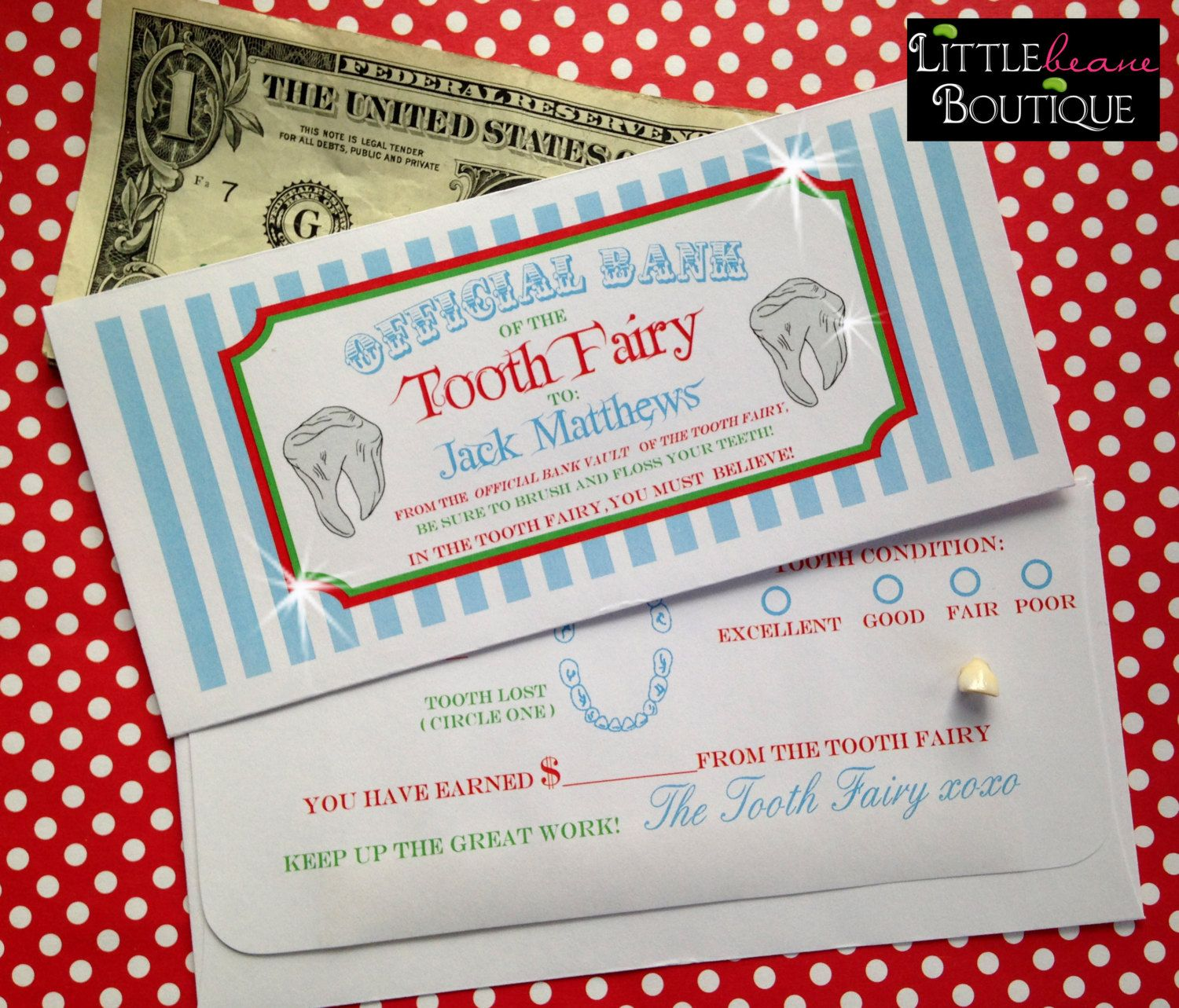 Personalized Tooth Fairy Money Envelopes by LittlebeaneBoutique, $3.50