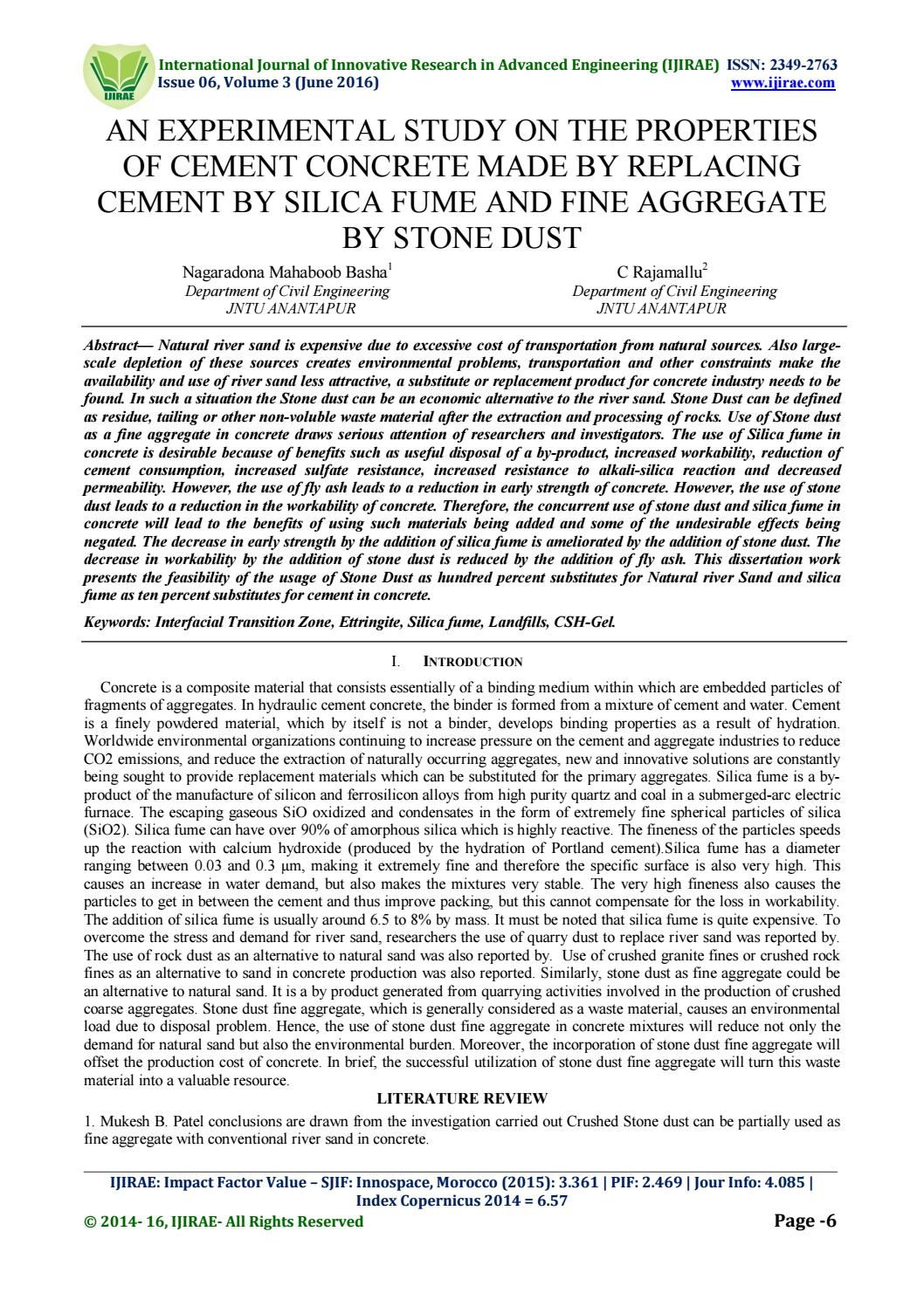 An Experimental Study On The Properties Of Cement Concrete Made By