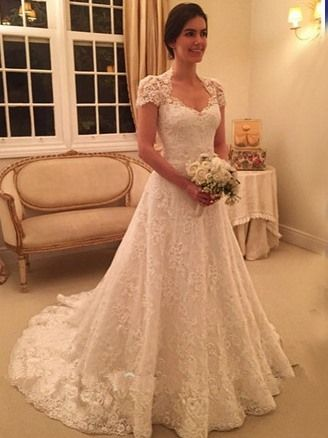 Modest A Line Lace Wedding Dress With Sleeves
