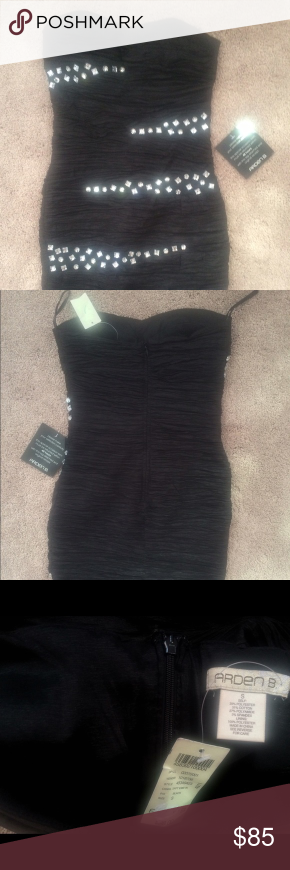Bebe Black stretch dress Brand new black stretch dress with Crystals. Fits like a glove. Never worn. Tags still on. Bought 2 diff sizes so need to sell this one. bebe Dresses