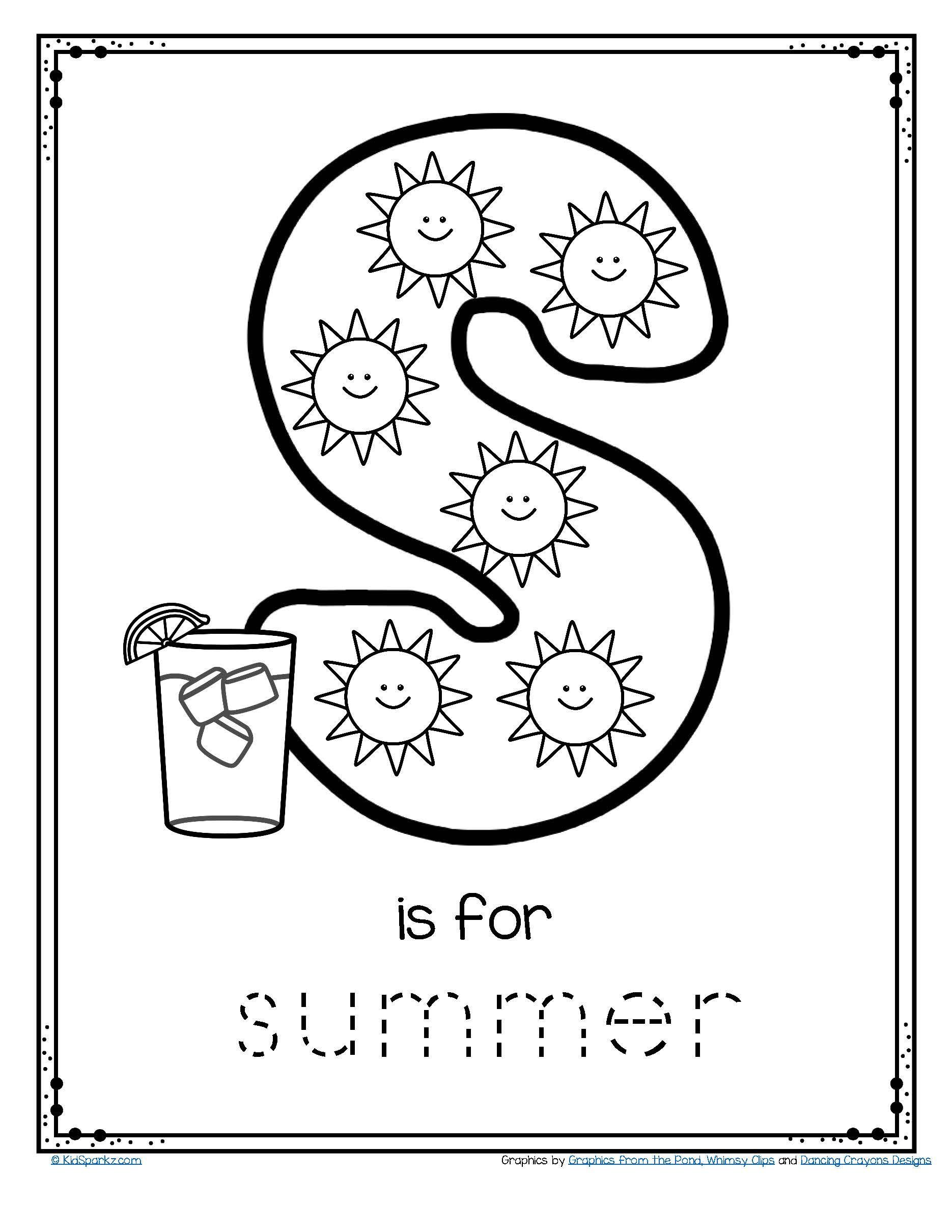 FREE tracing and coloring printable. Sunny days and blue
