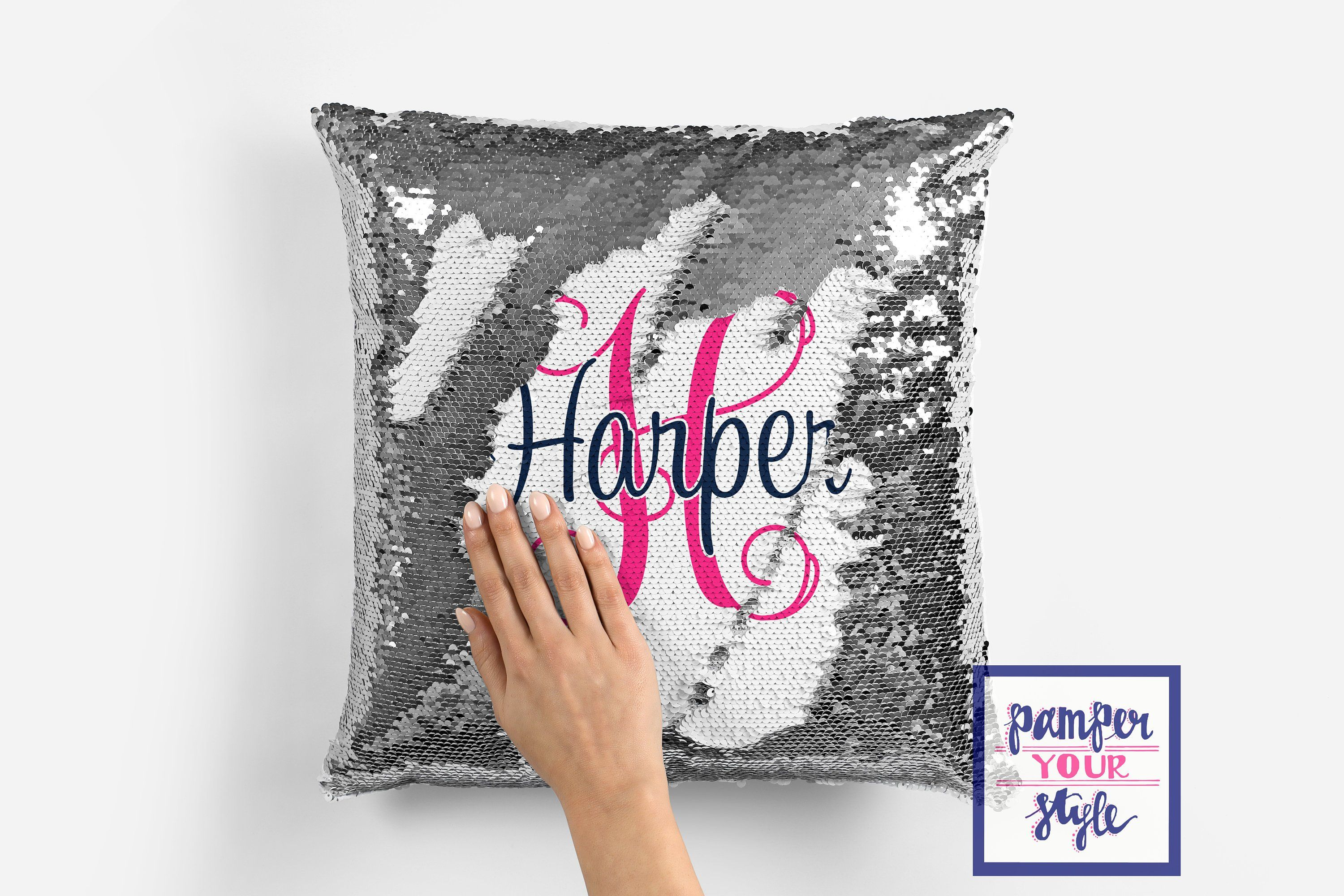 Personalized Name Sequin Pillow Cover Custom Designed Reversible Pillow Cover Suprise Design Hidden Un Reversible Pillow Cover Monogram Gifts Sequin Pillow