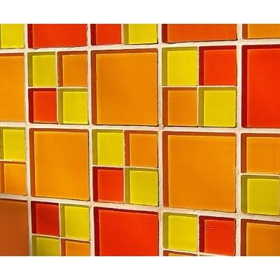Glass Mosaic Tile Red Orange Yellow For Kitchen Bathroom