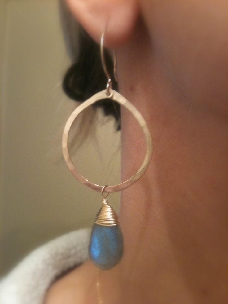 Photo of Items similar to Gold Hoop Earrings Blue Labradorite on Etsy