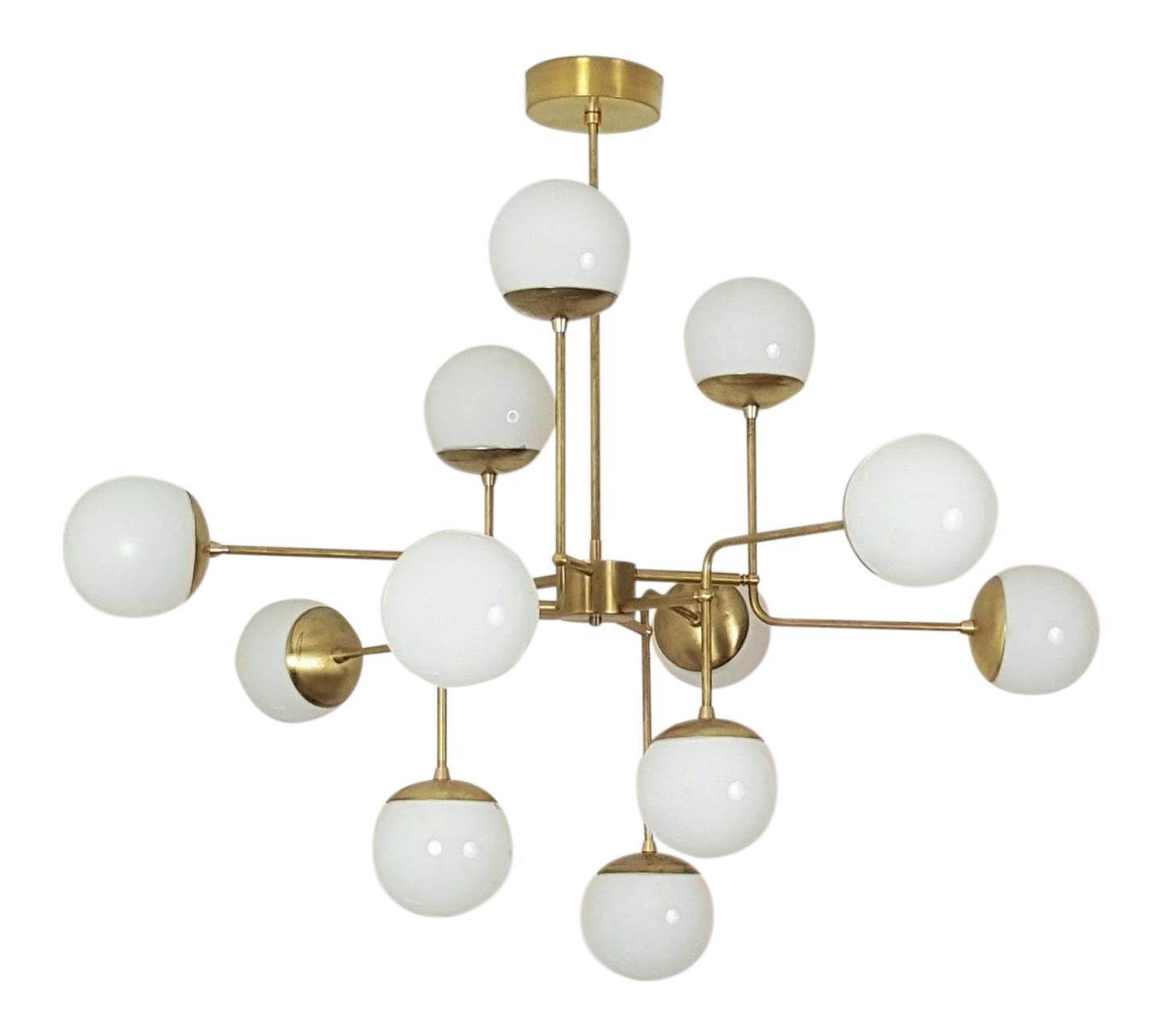 Model 420 chandelier in brass glass by blueprint lighting modern model 420 chandelier in brass glass by blueprint lighting aloadofball Choice Image