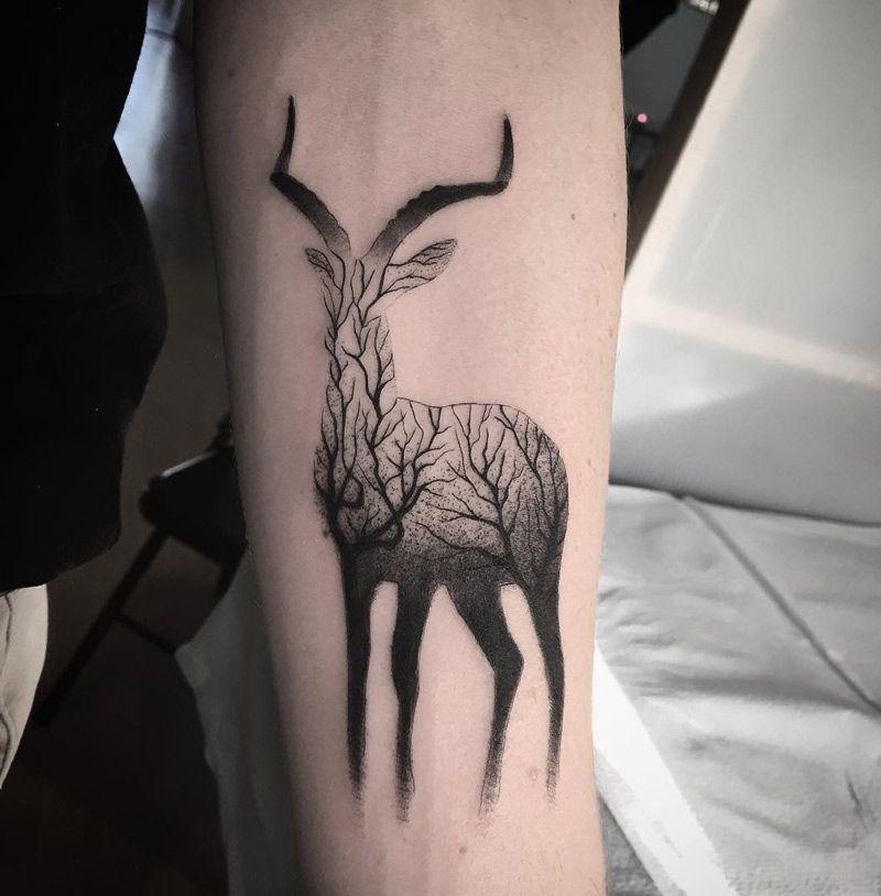 Gazelle & Branches Best tattoo ideas & designs Stag