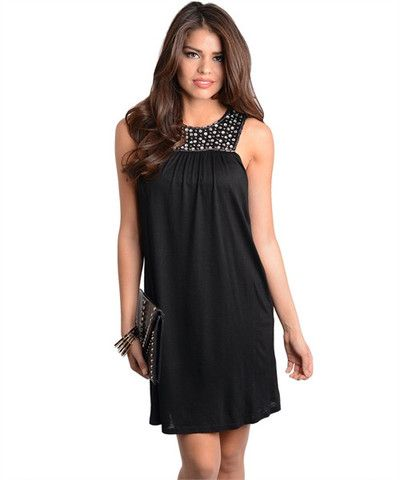 Beautiful Black Sleeveless Dress Design With White Half Pearl