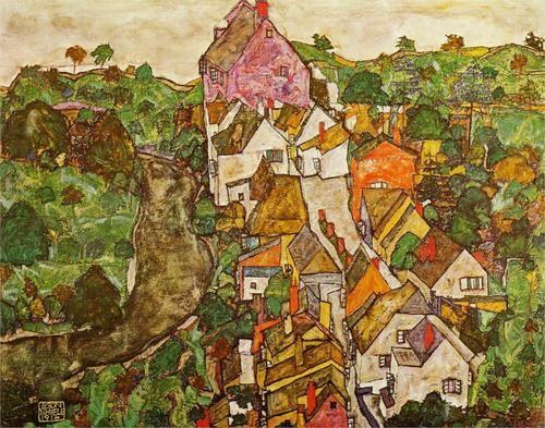 Landscape at Krumau, Egon Schiele. 1916.