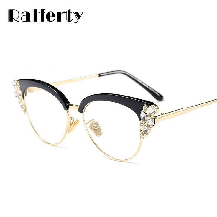 5ccbb1477be25 Ralferty Royal Cat Eye Glasses Frames Women Rhinestone Prescription Optical  Eyeglass Frame Black Vintage Eyewear Oculos F97329  rockabilly  retro   vintage ...