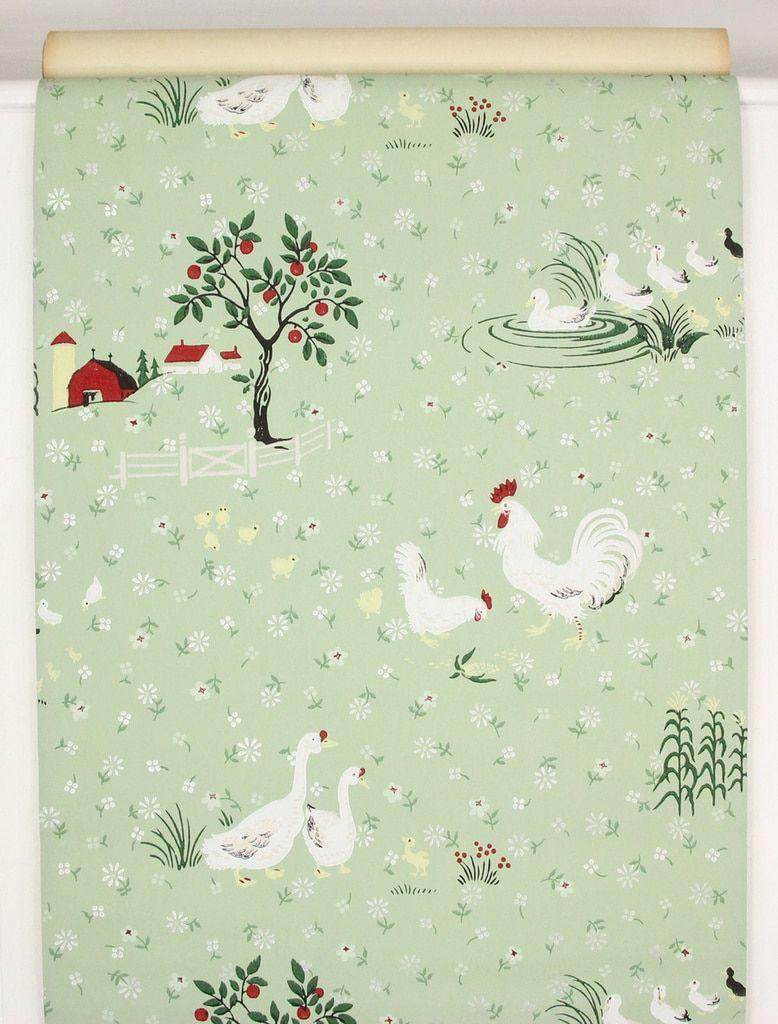 1940s Vintage Wallpaper Farmyard Barn Chickens Ducks in 2019 ...