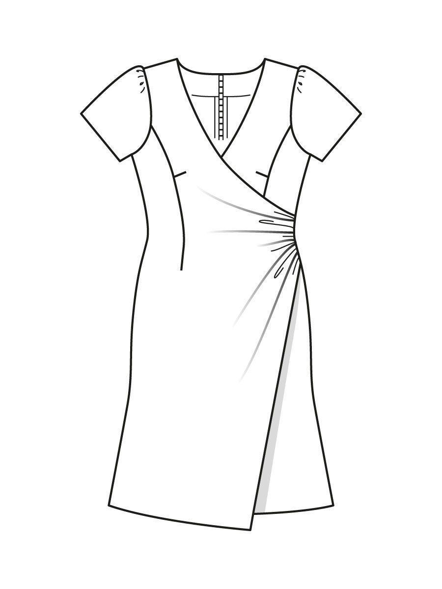 e1d6a6dd15c Платье с v-образным вырезом - выкройка № 107 из журнала 9 2015 Burda –  выкройки платьев на Burdastyle.ru