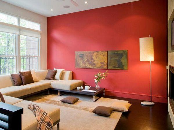 interessantes-design-wohnzimmer-gestalten-wohnzimmer-rote-wand ... - Moderne Wandgestaltung Wohnzimmer