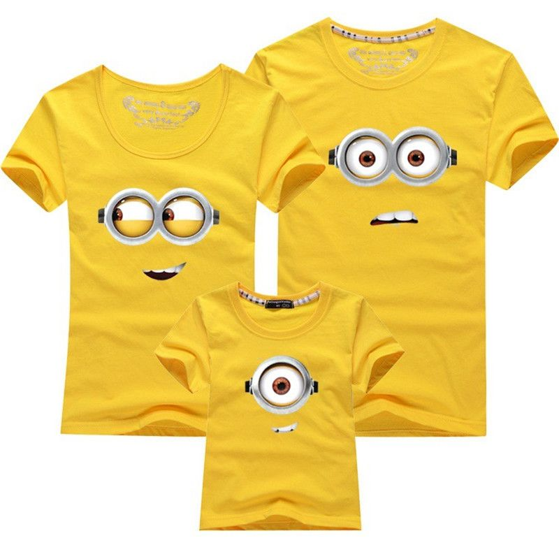 c0bc8eb0 Family Matching Outfits Mother Daughter Son Father Short Sleeve Cartoon  Minions Fashion Cotton T Shirt Family Look Plus Size