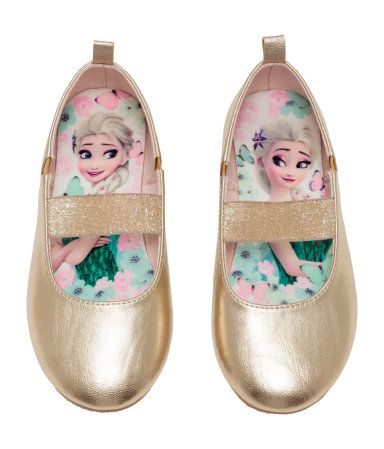 b9e74de540e Gold Frozen. Ballet flats in metallic-colored imitation leather with a  glittery elastic strap over foot and elastic panels at sides. Satin lining