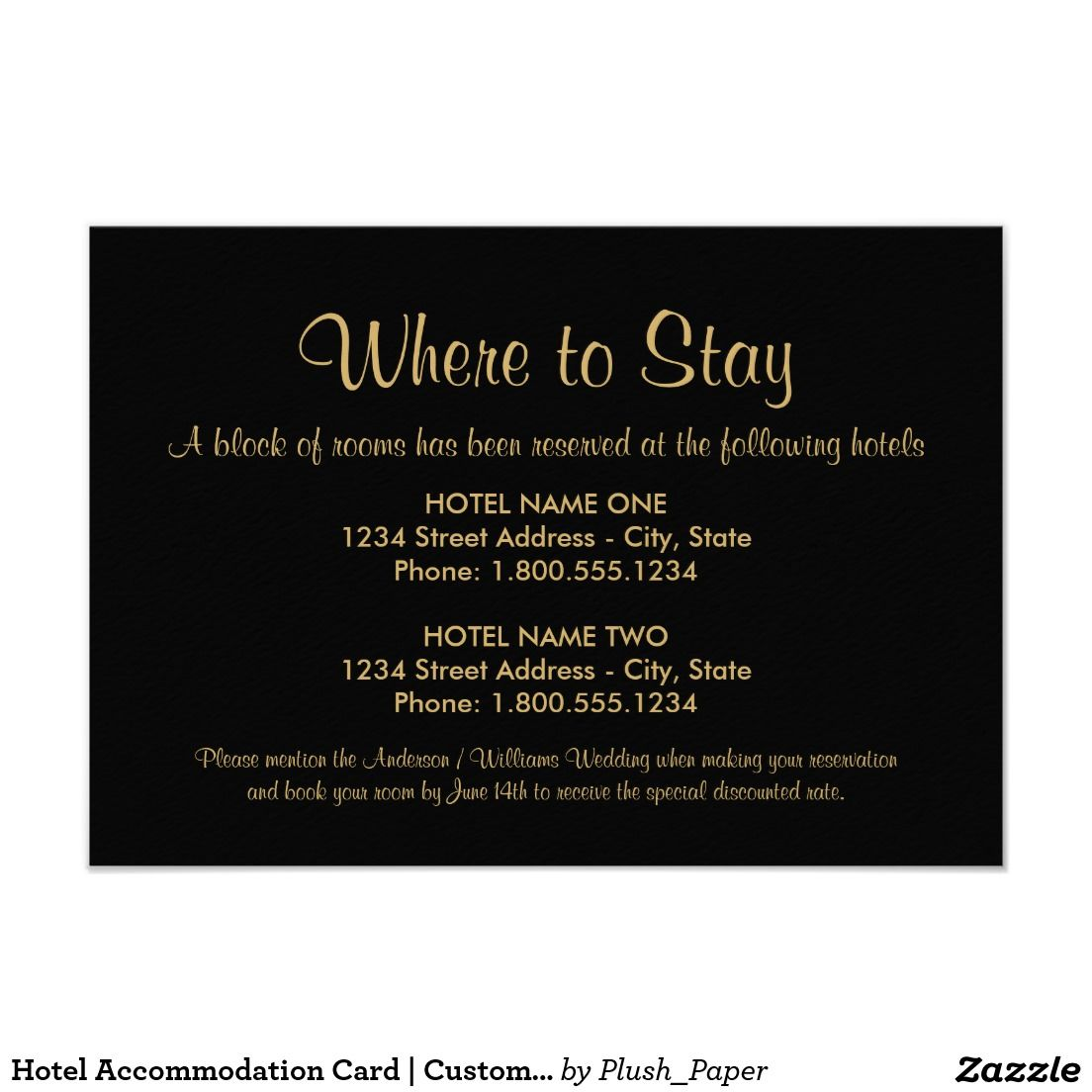 Hotel accommodation card custom colors accommodations card hotel accommodation card custom colors gold wedding invitationszazzle filmwisefo