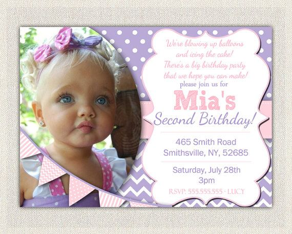 2nd Birthday Invitation Purple and Pink  by InvitationsByLittleP