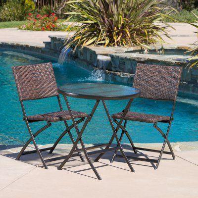 Outdoor Best Selling Home Decor Furniture Halman Wicker 3 Piece Round  Bistro Set   229663