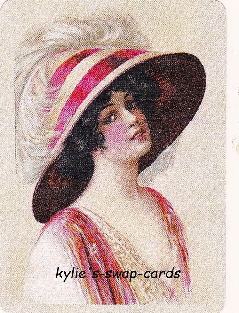 LOVELY lady swap playing cards MINT CONDITION in lovely feather hat pinks