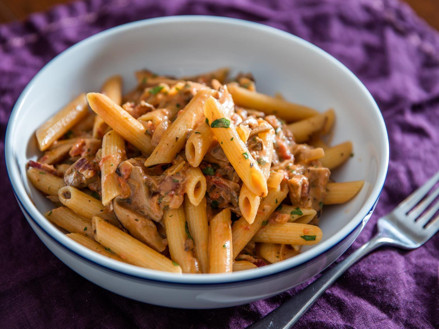 penne boscaiola woodsman style pasta with mushrooms and bacon rh pinterest com mx