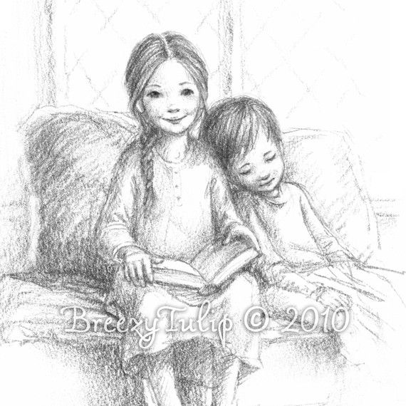 A Story by the Fire  Art Print by BreezyTulip on Etsy