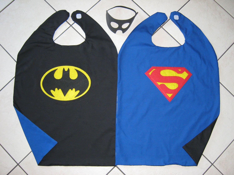 Reversible Superman Batman Super Hero Cape Boys Mask Costume BLUE