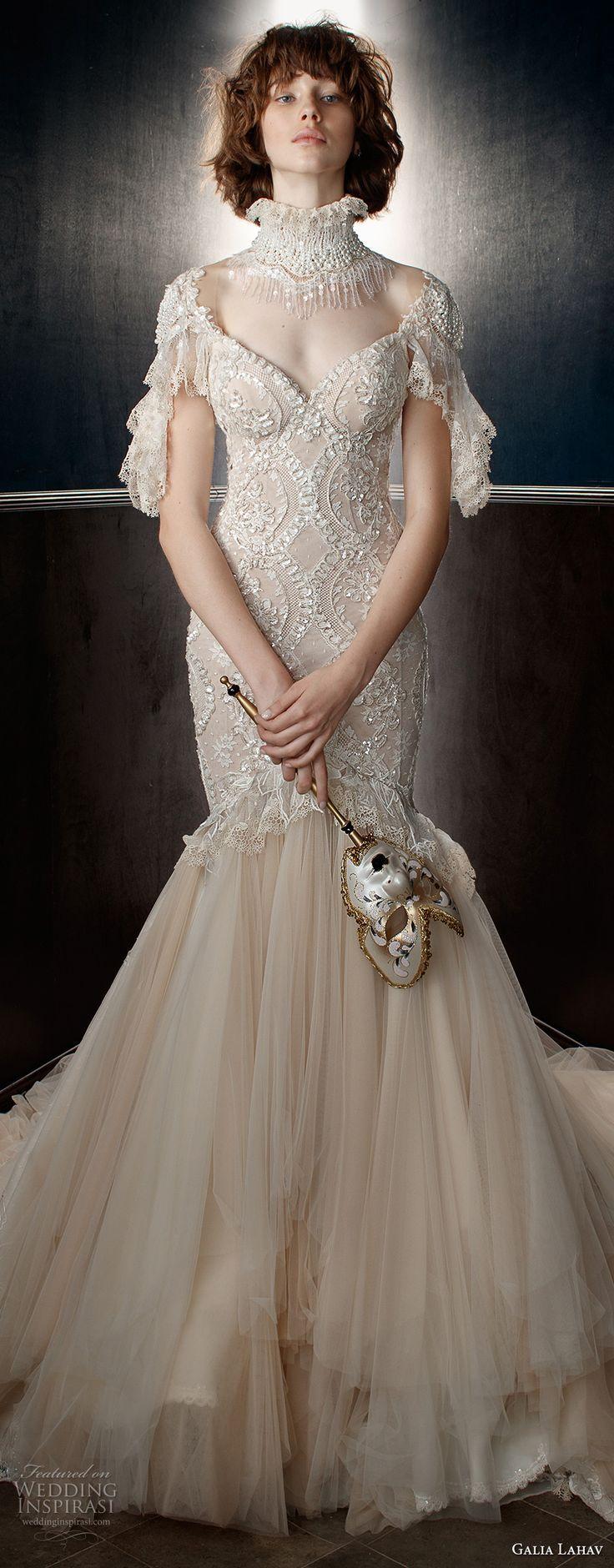 Galia lahav spring bridal short sleeves illusion high
