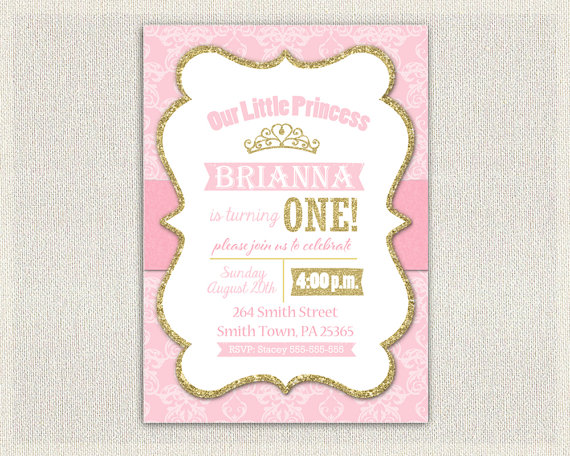 princess 1st birthday invitation gold by invitationsbylittlep