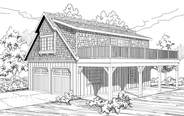 2 car Garage w/Loft - 20-061 - Garage Plans - Front Elevation