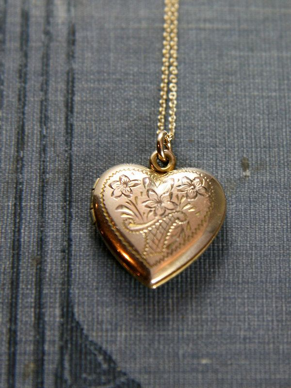 vintage necklace square locket small gold wanelo engraved shop on lockets