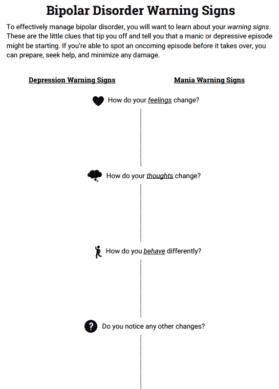 Bipolar Disorder Warning Signs (Worksheet | Therapy | Pinterest