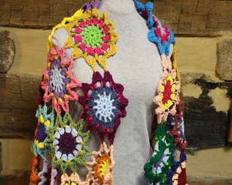 Boho Gypsy Crochet Japanese Flower Shawl Hippie Patchwork Wrap