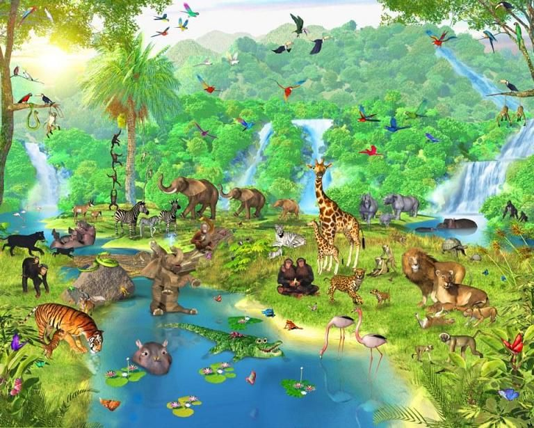 Forest wallpaper murals for kids animal cool ideas for for Cool mural wallpaper