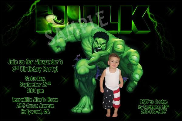 Incredible Hulk Birthday Invitations Ideas For Andrew